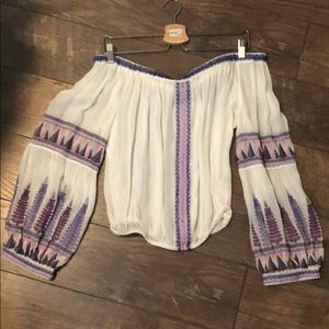 Free People XS embroidered off the shoulder top